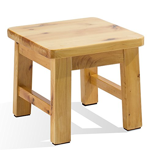 Frisby Hardwood birch footstool water resistant multipurpose durable Sturdy non-slip surface wooden square step stool for indoor kitchen bathroom outdoor patio garage by Frisby