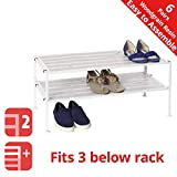 Seville Classics 2-Tier Resin Slat Utility Shoe Rack, White