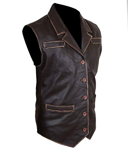 c8ad2708fb2f4 F H Men s Hell On Wheels Cullen Bohannan Distressed Cowhide Leather Vest at  Amazon Men s Clothing store