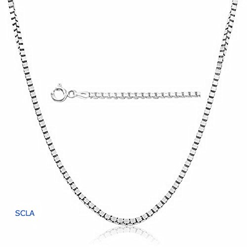 White Gold Chain Necklace 1mm 18karat Diamond Cut box Chain 24K 30X Thicker Than Any Overlay. USA Made. (22) - Necklaces For Men Real Gold