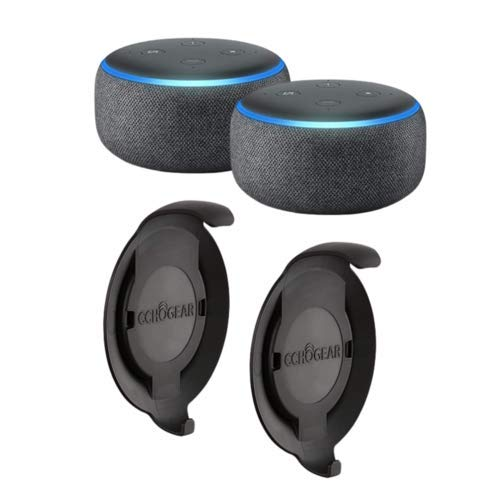 Echo Dot (3rd Gen) Charcoal 2-Pack with 2 Made for Amazon Echo Dot Wall Mounts