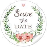 """24 STICKER: """"Save the Date"""" schöne Etiketten im """"Vintage-Retro-Look"""" mit Kranz, Blüten und Herz in grün / apricot zur Hochzeit • Papieraufkleber: 4 cm, rund, matt"""
