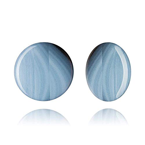 Retro Style 3cm Big Round Blue Clip on Earrings for Lady