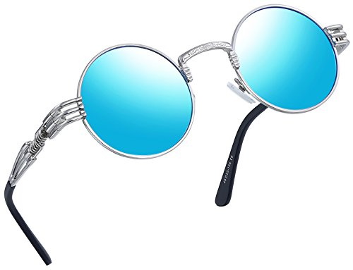 - Joopin-Round Retro Polaroid Sunglasses Driving Polarized Glasses Men Steampunk (Blue Punk)