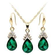 Jewelry Set Opeof Vintage Teardrop Rhinestone Women Jewelry Set Necklace Hook Earrings Pendants -...