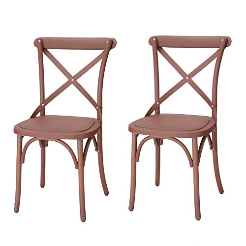 Adeco Econ-Friendly Nylon Vintage-Style Dining Chair Curved Leg Cross Back, Cuba Coffee (Set of 2), Cube (Cuba Nylon)