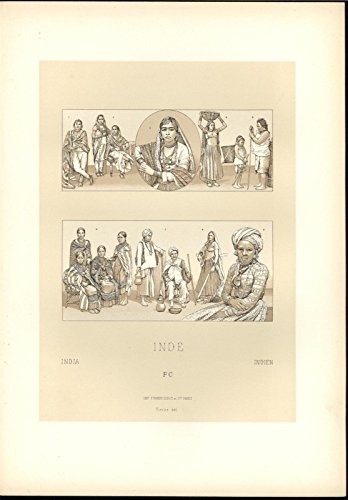 India Exquisite Jewelry Facial Piercing Gold Earring c.1888 antique lovely print