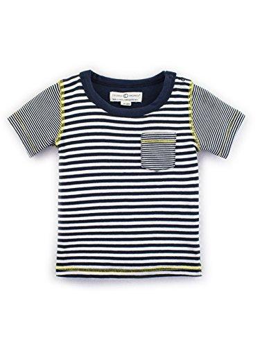 y Boys Organic Everest Short Sleeve Tee - Navy Stripe - 12-18 Months ()
