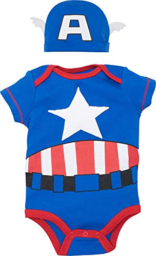 Marvel Captain America Baby Boys Costume Short Sleeve Bodysuit & Cap Set Blue, 3-6 Months