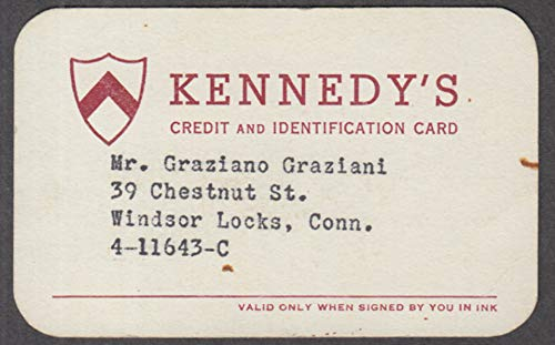 Kennedy's Apparel Store Credit Charge Card ca 1950s Boston Hartford ++