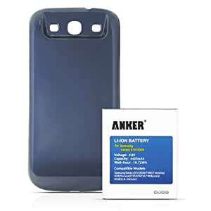 [540 Days Warranty] Anker 4400mAh Replacement Extended Battery for Samsung Galaxy S3, GT-I9300, T999(T-Mobile), I747(AT&T), I535(Verizon), R530(U.S. Cellular), L710(Sprint), fits EB-L1G6LLU, with NFC/Google Wallet, with Dark Blue Cover