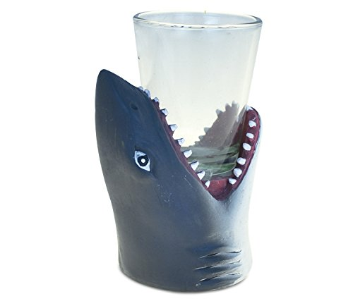 PuzzledShark Head Shot Glass, 2 Inch Unbreakable Tequila Cocktail Whisky Vodka Espresso Novelty Glassware Game Shooter Glasses Handcrafted Drinkware Ocean Life Themed Home & Bar Tools Accessory