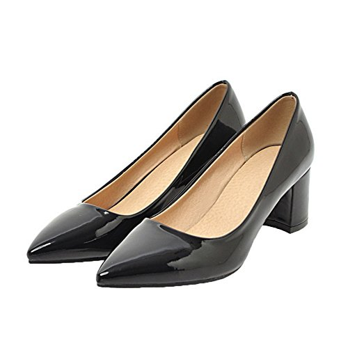 Women's Pull Leather Kitten Black Shoes Patent On WeenFashion Closed Heels Toe Court Od7xqCAdw