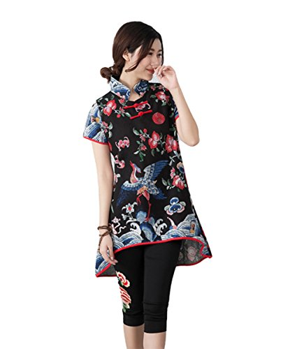 AvaCostume Womens Pattern Short Sleeve Blouse