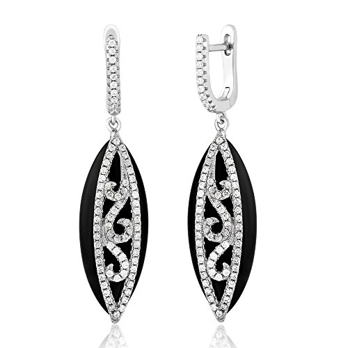 Black Onyx Set - Sterling Silver Black Onyx Marquise Shape Unique Earrings with White CZ