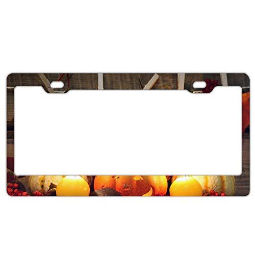 SHUIZHIQING Car License Plate Frame,Halloween Pumpkin Alumina License