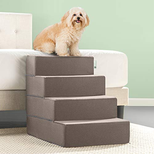 Zinus Easy Pet Stairs / Pet Ramp / Pet Ladder, X-Large, Sand (Height Beds Dog Bed)