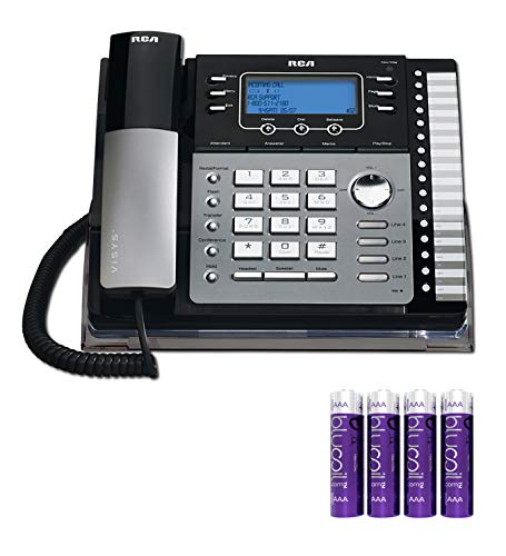 RCA 25424RE1 4-Line Expandable Phone System - Office Desk Telephone with Built-in Caller ID and Intercom Bundle with 4 Blucoil AA Batteries ()