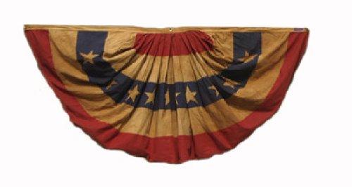 Valley Forge Heritage Series Antiqued 1-1/2-Foot x 3-Foot Striped Mini Fan With Stars Bunting