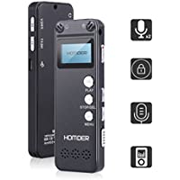 Homder Digital Voice Recorder for Lectures Voice Activated Recorder, 8GB LCD Mini Sound Audio Recorder with MP3 Player, Dictaphone with Double Microphone Rechargeable USB Por 560Hr