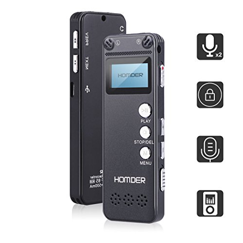 Homder Digital Voice Recorder for Lectures with Security Password, 8GB Rechargeable Sound Audio Recorder with USB Port, Dictaphone Voice Activated Recorder (Black) by Homder