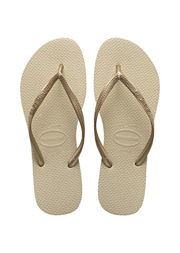 (Havaianas Women's Slim Flip Flop Sandal, Sand Grey/Light Golden, 9-10 M US)