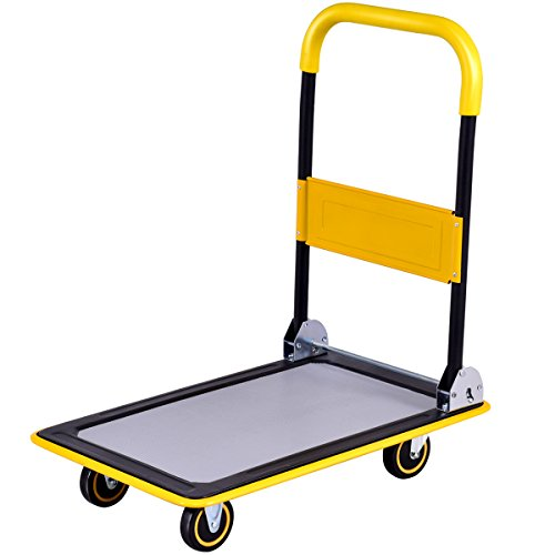 Goplus Folding Platform Cart 330LBS Rolling Flatbed Cart Hand Platform Truck Push Dolly for Loading (330lbs) by Goplus