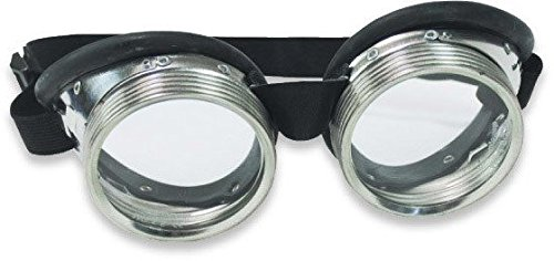 Steampunk Metal Goggles - Clear Glass Lens with Aluminum Metal and Rubber Lining -