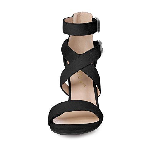 5 Donne Cross Cinturino US alla Tacco 5 Blocco Caviglia K Design Allegra Nero Sandali 6qf7p51wwx