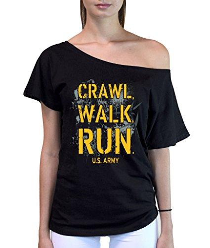 Junior's US Army Crawl Walk Run Off-Shoulder T-Shirt Small Black