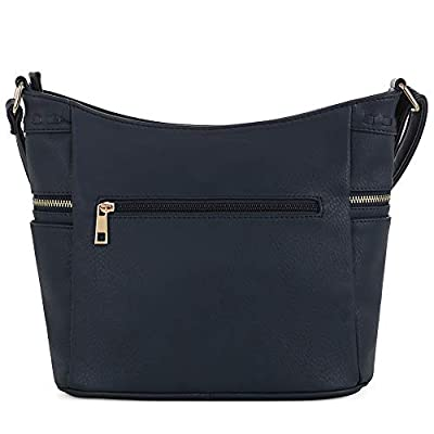 DELUXITY   Crossbody Hobo Slouch Bucket Purse Bag   Side Pockets with Tassel   Adjustable Strap