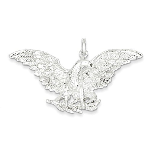 Silver Charm Sterling Solid Eagle (Solid Sterling Silver Eagle Charm Pendant)