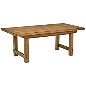 "Amazon Brand – Stone & Beam Parson Wood Trestle Dining Table, 78""-96""L, Oak Finish"