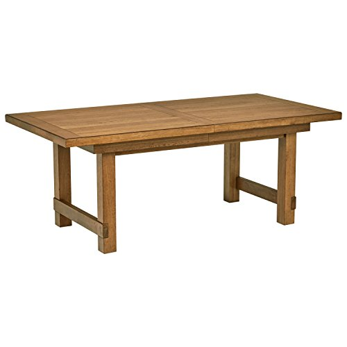 Stone Beam Parson Trestle Dining Table, 78 -96 W, Oak