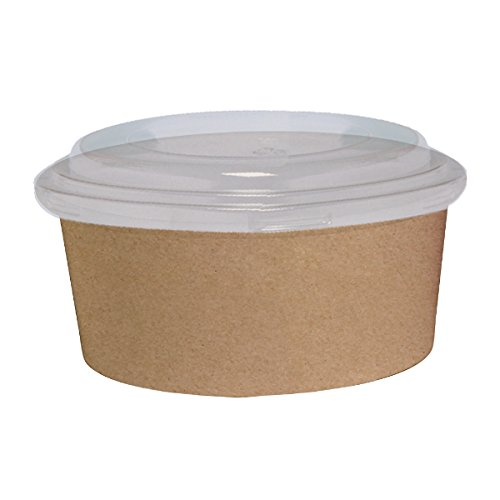 PacknWood Round Kraft To-Go Bucket Container with Clear Plastic Lid, 38 oz. Capacity, Brown (Case of 200) by PacknWood