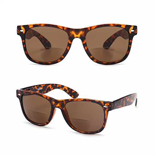 Enjoy Reading in the Sun n Look Fashion! Viscare Men Women Designer Wayfarer Spring Hinged Bi-focal Sun Readers Reading Sunglasses + Hard Case Cloth +1.00 Brown-- 30 Days Return - Oakley Lenses Progressive