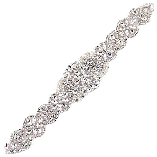 XINFANGXIU Crystal sashes for wedding, Wedding Bridal Belt, Braided Rhinestone Sash, Women Formal Dress Belts - Silver
