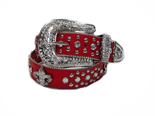 Deal Fashionista RED Fleur de Lis Concho Western Rhinestone Bling Studded Belt
