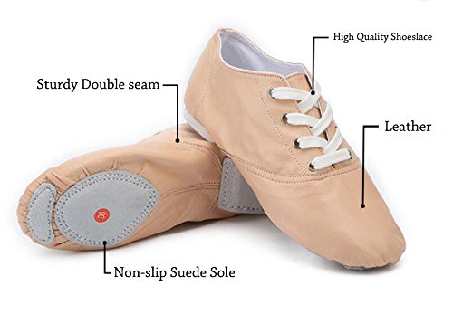 missfiona Kids Soft Leather Jazz Boots Suede Split-Sole Modern Dance Shoes Ballroom Sneaker