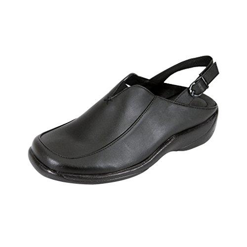 - 24 Hour Comfort Ingrid (1047) Women Wide Width Leather Slingback Clogs Black 8.5
