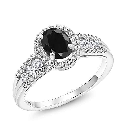 Gem Stone King 1.34 Ct Oval Black Sapphire White Created Sapphire 925 Sterling Silver Ring (Size 8)