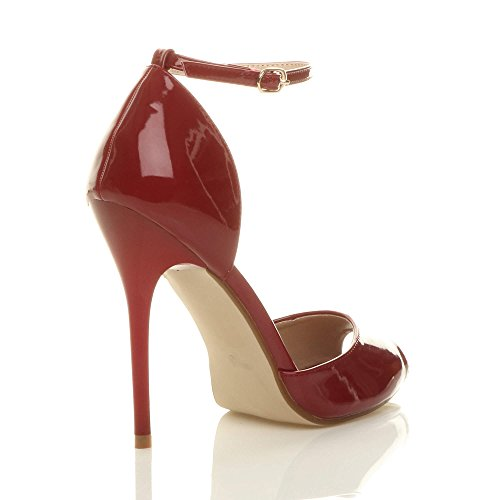 Sangle Verni Toe Aiguille De Bordeaux Femmes Sandales Peep Boucle Haut Escarpins Rouge Chaussures Cheville Foncé Talon Pointure tqvEOg