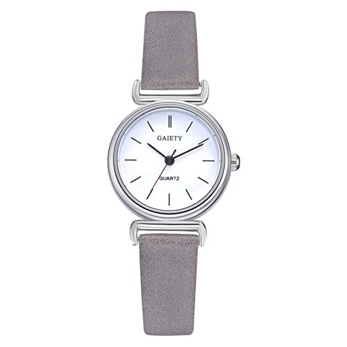- Round Dial Watch, 4 Colors Fashionable Simple Casual Analog Quartz Movement Wristwatch with Adjustable PU Leather Strap(Grey)