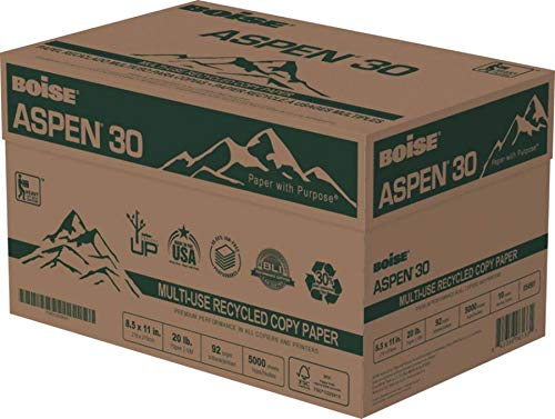 BOISE ASPEN 30% Recycled Multi-Use Copy Paper, 8.5'' x 11'' Letter, 92 Bright, 20 lb, 10 Ream Carton, 5,000 Sheets (054901) by Boise Paper