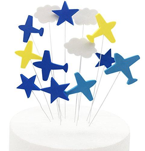 Airplane Star Cake Topper, KOOTIPS Happy Birthday Twinkle