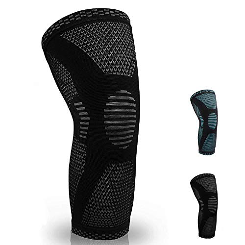 Tilboroo Knee Brace Compression Sleeve for Running, Jogging,Basketball,Gym,Sports Knee Support for Pain Relief Knee Brace for Men or Women(Single Wrap) (Black, Large)