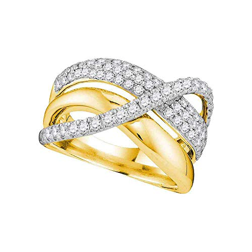 Diamond Crossover Ring Three Row Fashion Band Crisscross Style Womens Fancy 1.00ct 14k Yellow Gold