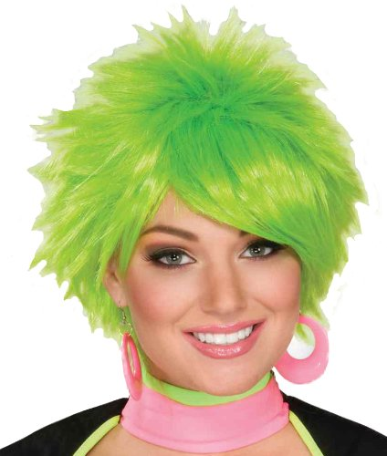 1980's Plastic Halloween Costumes (Forum 1980's Pixie Wig  Green, One Size)