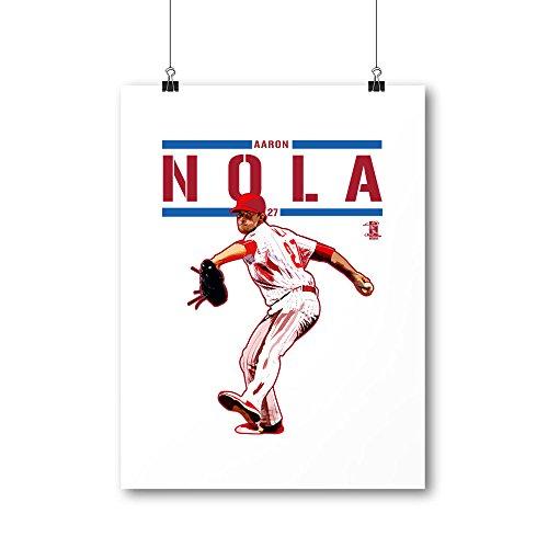 "500 LEVEL's Aaron Nola Cool Wall Poster For Philadelphia Baseball Fans - White 24"" x 32"" Aaron Nola Play R"