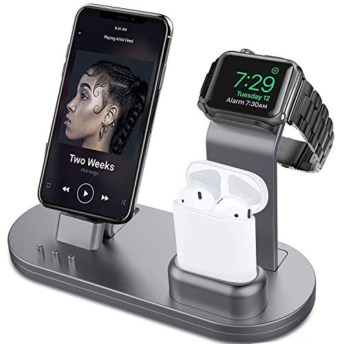 OLEBR 3 in 1 Charging Stand Compatible with iWatch Series 5/4/3/2/1, AirPods and iPhone 11/Xs/X Max/XR/X/8/8Plus/7/7 Plus /6S /6S Plus(Original Charger & Cables Required) Space Gray (Cheap Stuff Iphone 4)